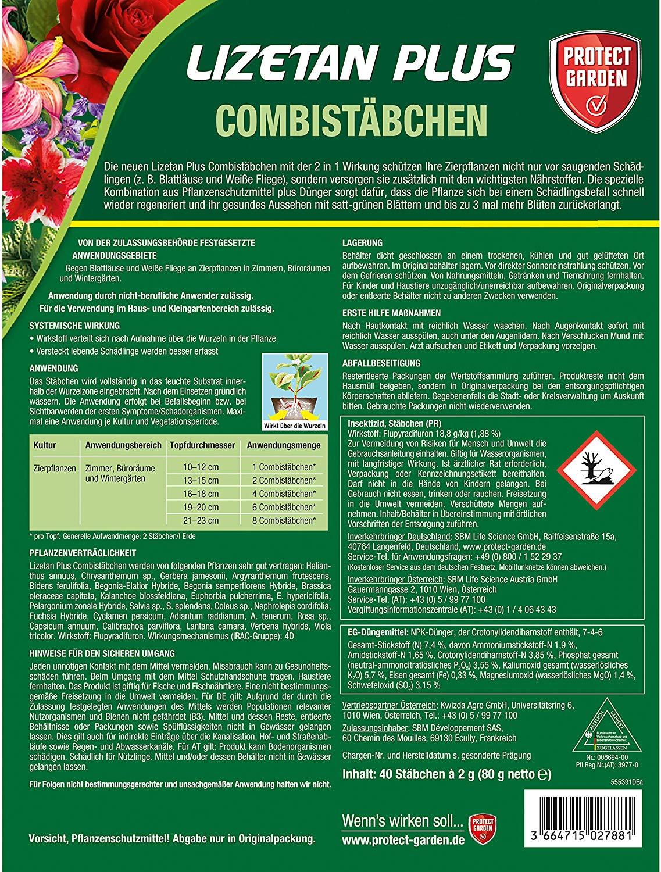 2 x 40 Stück Protect Garden Lizetan Plus Combistäbchen 2in1 Schutz /& Düngung